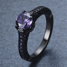 4.8/CT Purple Amethyst Wedding Rings 10Kt Black Gold Filled Size 6-10 Jewellery