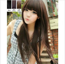 Womens Long Black Brown Straight Full Cosplay Hair Fashion Wigs Wig Cap Gift New