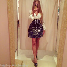 Sexy Celeb Christmas Puff Sleeve Polka Dot Printed V Neck Party Mini Dress White