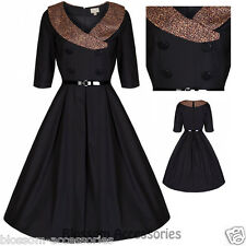 RKB12 Lindy Bop Black Winnie Leopard Rockabilly Vintage Swing Dress Plus Size