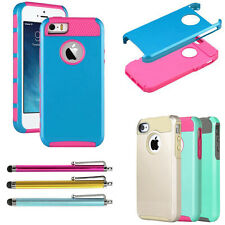 Hybrid PC Hard Dual Layer Protective Case Cover For Apple iPhone 4 4S+Pen