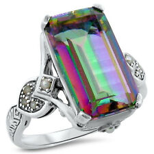 4.5 CT. HYDRO MYSTIC QUARTZ PEARL ANTIQUE DESIGN .925 STERLING SILVER RING, #199