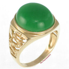 14k Solid Yellow Gold Dragon Design Cabochons Cut Oval Green Jade Ring