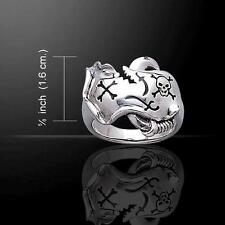 Skull and Pirate Map Sterling Silver Ring