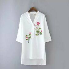 New Womens Chic White Long Sleeve Floral Print Blouse Tops Shirt Dress S M L