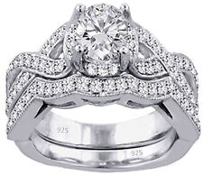 3.30 Ct AAA CZ Real 925 Silver Wedding Engagement 2pc set Ring Women's sz 4-11.5