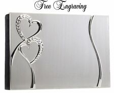 Personalized Crystal Hearts Silver Wedding Photo Album 4x6 Photos-Engraved Free