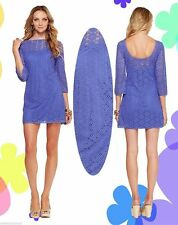 $168 Lilly Pulitzer Topanga Iris Blue Breakers Crochet Knit Lace Tunic Dress