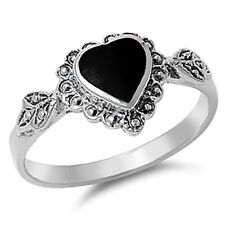 Women's Heart Black Onyx Promise Ring New .925 Sterling Silver Band Sizes 4-10