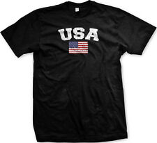 USA United States Faded Distressed Flag Country Pride Mens T-shirt