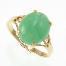 14k Solid Yellow Gold 10 x 12 mm Cabochon Cut Oval Green Jade Solitaire Ring TPJ