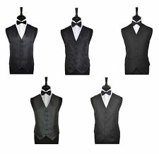 "Men's Special Occasion Black Wedding Evening Waistcoat & Bow Tie -Size 34"" - 60"""
