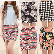 Sexy Womens High Waist Mini Skirt Stretch Floral Houndstooth Pencil Short