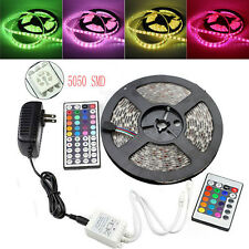 5M 5050 RGB 300LED SMD Flexible Light Strip + 24/44 Key Remote 12V Power Supply