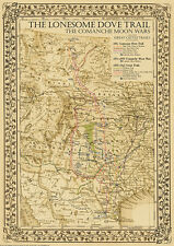 The Lonesome Dove~Comanche Moon~Great Trails Map - 2nd Edition ~ In 4 Sizes
