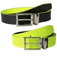 Nike Golf Men's Perforated Leather Volt / Black Reversible Belt