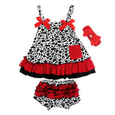 Girls Toddler Baby Cotton Dress Sleeveless + Pants Bloomers Kids Set Outfits New