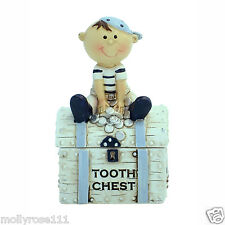 Pirate on Treasure Chest Tooth Fairy Chest ..  Blue & White - Boy's Gifts