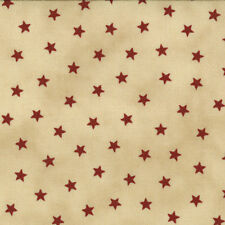 OLD GLORY Gatherings Tan with Red Star Patriotic Primitive Gatherings Fabric