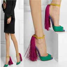 Sexy Lady High Heels Ankle Strap Open Toe Sandals Fashion Tassels Suede Shoes