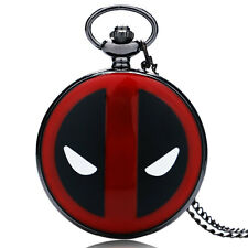 Black/Bronze Pocket Watch Deadpool Quartz Pendant Watch Necklace Chain Kids Gift