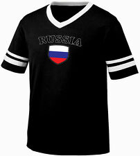 Russia Flag Crest Russian Federation National Country Pride Retro Ringer T-shirt