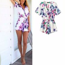New Womens Ladies Sexy V-Neck Short Sleeve Floral Print Shorts Jumpsuits Rompers