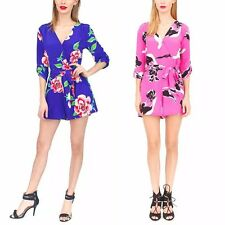 New Womens Ladies Blue/Rose Red Floral Print Celeb Shorts Jumpsuits Rompers