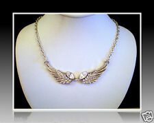 AWARENESS RIBBON ANGEL WINGS CLEAR WHITE CRYSTAL SILVER NECKLACE PENDANT