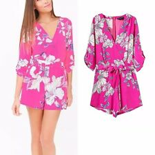 New Womens Ladies Celeb Rose Red Floral Print 3/4 Sleeve Short Jumpsuits Rompers