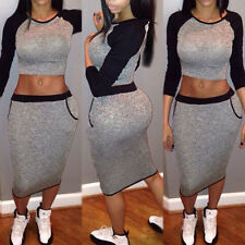 Womens Party Two Piece Raglan Crop Top and Pencil Skirt Bodycon Clubbing Dress