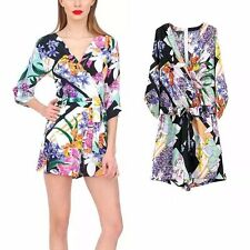 New Womens Ladies 3/4 Sleeve Sexy V-Neck Floral Print Shorts Jumpsuits Rompers