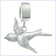 Sterling Silver Flying Swallow Bird Pet Dangle Bead f/ European Charm Bracelet