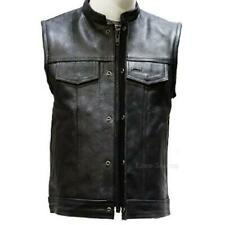 SOA MOTORCYCLE LEATHER VEST w/SNAP & ZIPPER CONCEAL GUN POCKETS - K2N