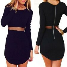 New Women Lady Casual Long Sleeve Stretchy Slim Bodycon Mini Dress Evening Party