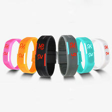 Men Women Chic Fashion Silicone Red LED Sport Bracelet Touch Digital Wrist Watch