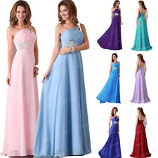 CHEAP~ One Shoulder Wedding Long Formal Evening Gown Party Prom Bridesmaid Dress