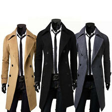 Mens Double Breasted Overcoat Trench Pea Coat Long Slim Fit Suit Jacket Outwear
