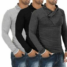 Mens Slim Fit Button Casual FashionT-shirt Long Sleeve Polo Shirt Muscle Tee Top