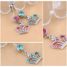 Hot Crown Shape Piercing Jewelry Rhinestone Button Bars Belly Navel Ring Barbell