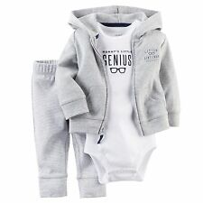 Carters Newborn 3 6 9 12 Months Cardigan Pants Set Baby Boy Clothes Outfit Gray