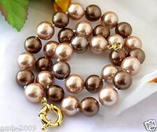 """8mm 10mm 12mm Natural AAA Coffee Champagne South Sea Shell Pearl Necklace 18""""AAA"""