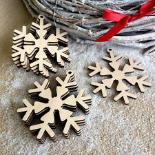 Wooden SNOWFLAKES Christmas Blank Birch Decorations Craft Shapes Gift Tags x 10