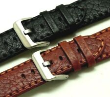 20mm 22mm Black or Red Brown HQ Calf Buffalo Grain Leather Mens Watch Strap
