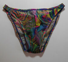 Mens Sheer Tie Dye Swimsuit Bikini Rise Brief Rio Half or Thong s M L or xl USA