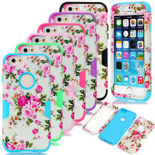 Luxury Matte Peony Flower Dual Layer Combo Shockproof Cases For Various Phones