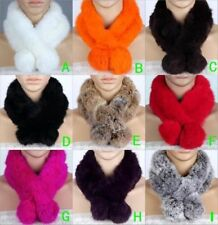 Women Real Rabbit Fur Scarf Shawl Collar Stole Cape Scarves Winter Scarf Wrap