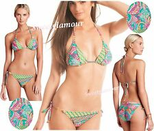 $156 Trina Turk Festival Folkloric Triangle Top & Tie Bottom Swim Bikini Set