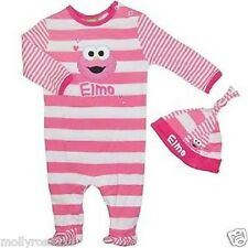 Baby Girls Licenced Pink White Elmo Cotton Romper & Matching Hat Outfit