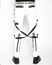 Tripp NYC White Skinny Jeans Bondage Pants Mens Goth Punk Trousers